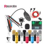 Kit de microfone condensador de áudio verde GAM-800 para karaokê com placa de som misturador de áudio GAX-V9 Bluetooth