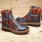 SOCOFY Retro Floral Pattern Bohemian Color Match Pattern Stitching Round Toe Zipper Ankle Boots