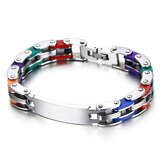 Trendy RVS Chain High Polished Silicone Cool Gift Armband voor mannen