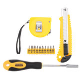 13Pcs DIY Household Hand Tool Kit Maintenance Repair Kits Tape Measure Screwdriver Cutter Tool