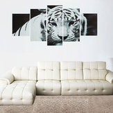 5Pcs/Set Modern Art Oil Canvas Painting Print Tiger Wallpaper Wall Sticker Home Decorations