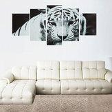 5 Pçs / set Arte Moderna Óleo Pintura Da Lona Impressão Tigre Papel De Parede Adesivo de Parede Decoração de Casa