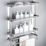 Wall Mount Stainless Steel Storage Basket Shower Bathroom Towel Rack 1/2/3-Layer