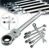 DANIU 6 stks een Set 6mm-12mm Flexibele Pivoterende Kop Ratel Combinatie Steeksleutel Wrench Garage Metric Tool