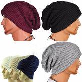 Unisex Mężczyźni Kobiety Dzianiny Slouch Beanie Kapelusz Twill Pure Color Elastic Outdoor Cap