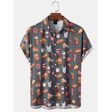 Heren Cartoon Food Pattern Print Revers Regular Fit Shirts met korte mouwen