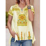Women Ethnic Print Short Sleeve V-Neck Slit Hem Bohemian T-Shirts