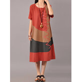 S-5XL Women Casual Short Sleeve Splice Loose O-neck Mid Long Dress