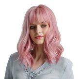 Женщина Розовый Парики короткие вьющиеся термостойкие синтетические натуральные Волосы зеленый парик для черного белого Женское косплей
