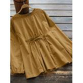 Mujer vendimia Blusa de color liso con cordones en la cintura elástica de algodón