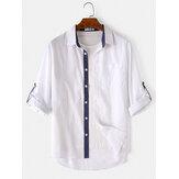 メンズカジュアルコットン100%実用的なポケットラペルボタンレジャーシャツ