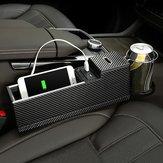 USB-töltő autósüléses rés tároló dobozának ülésrés-kitöltő szervezője Catcher Box pohártartó