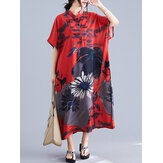 Ethnic Style Floral Print Button Down Short Sleeve Loose Vintage Shirt Maxi Dress