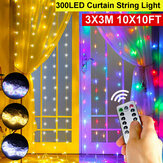 3x3M Waterproof USB 300LED Window Curtain String Light 8 Modes Outdoor Fairy Lamp Home Decor with Hook