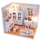 木製DIY手作り組み立てミニチュアドールハウスキットおもちゃLEDライトダストカバー付きギフトコレクション家の装飾