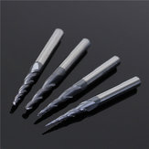 4pcs R0.25/R0.5/R0.75/R1.0mm 2 Flute Carbide Tapered End Mill Ball Nose Cutting Tool