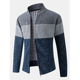 Mens Color Block Patchwork Rib-Knit Zip Front Cotton Cardigans With Pocket