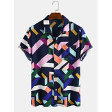 メンズファッションカラーブロック幾何学プリント通気性半袖カジュアルシャツ