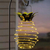Pineapple LED Solar Light Waterproof Hanging Lantern Metal Warm White Garden Decorative Outdoor Lamp