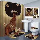 Afrikaanse exploderende haar meisje patroon douchegordijn waterdichte badkamer antislip bad Pad voetstuk deken deksel WC Cover Mat Set