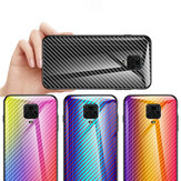 Bakeey for Xiaomi Redmi Note 9S / Redmi Note 9 Pro Case Carbon Fiber Pattern Gradient Color Tempered Glass Shockproof Scratch Resistant Protective Case Non-original