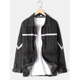 Mens Ribbon Stitching Loose Outdoor Stylish Cargo Denim Jacket With Flap Pocket