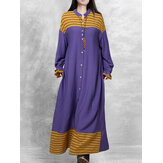 Women Patchwork Stripe Puff Sleeve Button Maxi Shirt Dresses With Sashes