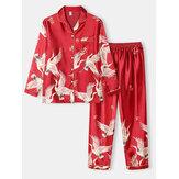 Ensembles de pyjama décontractés à la maison en soie glacée avec col à revers et motif de grue de grande taille pour femmes