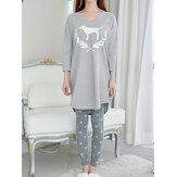Женский абстрактный принт с v-образным вырезом с длинным рукавом серый комплект из двух частей пижамы