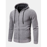 Mens Knitted Zipper Front Solid Color Warm Long Sleeve Hooded Sweater Hoodie Jacket