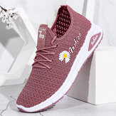 Women Daisy Decor Breathable Mesh Lightweight Casual Sport Shoes