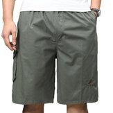 Pantalonescortoscasualeshastalarodilla 100% algodón multi-bolsillo para hombres