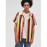 Mens Holiday Colorful Striped Casual Turn-down Collar Shirts