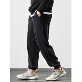 Mens Corduroy Solid Color Loose Fit Elastic Cuff Drawstring Jogger Pants