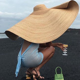 80cm Super Large Visor Hat Travel Holiday Seaside Sunscreen pliant Beach Chapeau de paille