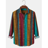 Cotton Mens Design Colorful Vertical Stripes Vintage Long Sleeve Casual Shirts With Pocket