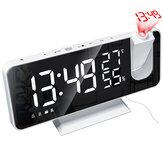 LED Ayna Alarmı Saat Büyük Ekran Sıcaklık ve Nem Ekran, Radyo ve Zaman Projeksiyon Fonksiyonu Elektronik Saat Şarj Edilebilir