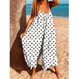 Bohemian Women Sleeve Jumpsuit Salopette Polka Dot Print Loose Summer Casual Jumpsuits