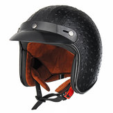 Open Face 3/4 Motorcycle Helmet Retro Vintage PU Leather Adult Black Brown
