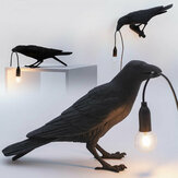 Black/White Bird Table Lamps Resin Crow Desk Lamp Bedroom Wall Sconce Light Fixtures