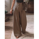 Women Cotton Pleats Elastic Waist Loose Casual Wide-legged Pants with Side Pockets