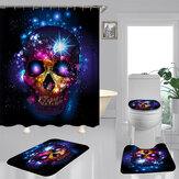 180*180cm Halloween Skull Bathroom Shower Curtain 3 Sets Decor Waterproof Fabric