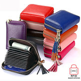 RFID  Antimagnetic Genuine Leather 15 Card Slots Multi Slot Tassel Card Holder Coins Bag