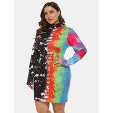 Artı boyutu renkli mürekkep püskürtmeli baskı yarı yüksek yaka paketi kalça Elbise