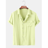Mens Fashion Revere Breathable Chest Pocket Short Sleeve Casual Shirts
