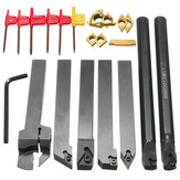 7 pcs 12mm Shank Torno Conjunto Chato Bar Virando Tool Holder Kit Com Inserções De Metal Duro