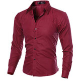 Heren Slim Fit Pure Color S-3XL Overhemden met lange mouwen en lange mouwen