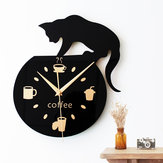 Silent Cartoon Wall Clock Cute Climbing Cat For Drinking Coffee Clock Wall Decoration Cup Coffee Clock Living Room Home Decor