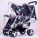 Limpar Stroller Chuva Capa Tempo Pram Bebê Infantil Duplo Pushchair Wind Shield Capa De Chuva