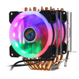 Aurora Colorful Backlit 3Pin 2 Kipas 6 Tabung Tembaga Dual Tower CPU Cooling Fan Cooler Heatsink untuk Intel AMD